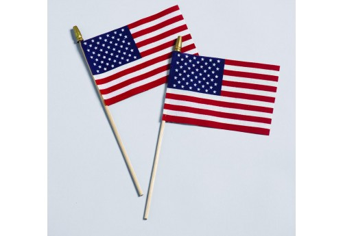 No-Fray Cotton U.S. Mounted Flags with Gold Spears