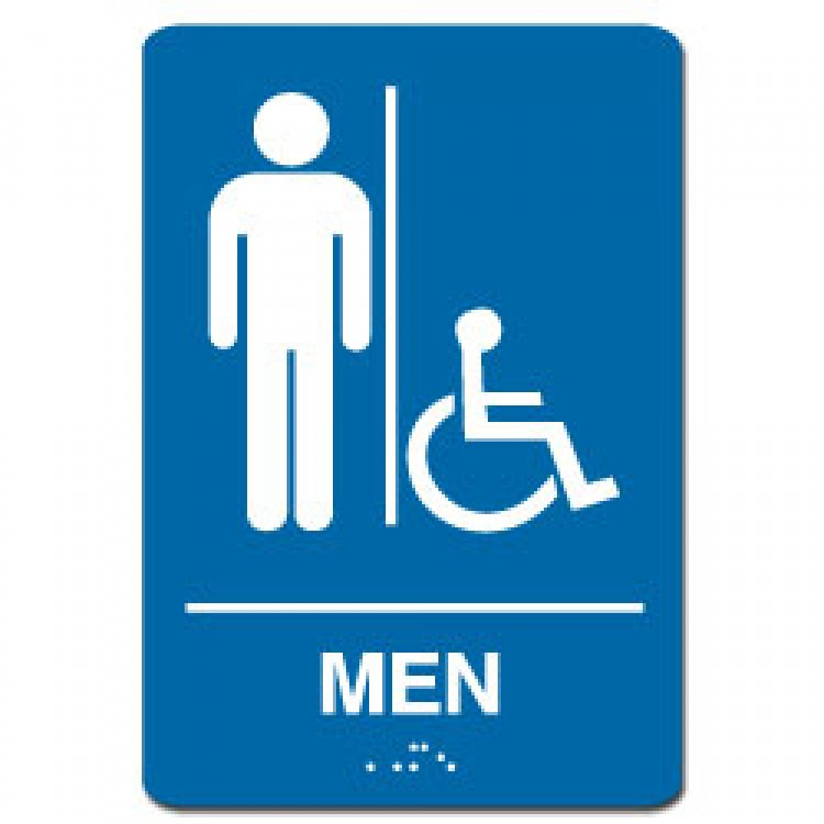 Men Handicap Restroom Sign - Handicap bathroom sign