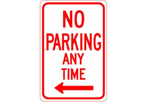 No Parking Any Time with Left Arrow Sign