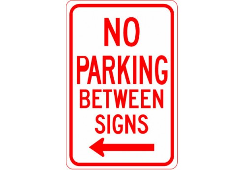 No Parking Between Signs with Left Arrow Sign