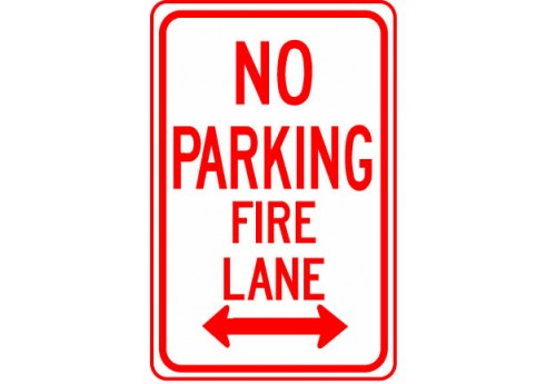 No Parking Fire Lane with Double Arrow Sign