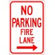 No Parking Fire Lane with Right Arrow Sign