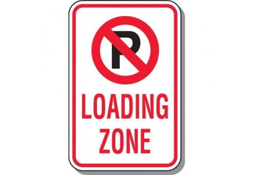 No Parking Loading Zone with Symbol Sign
