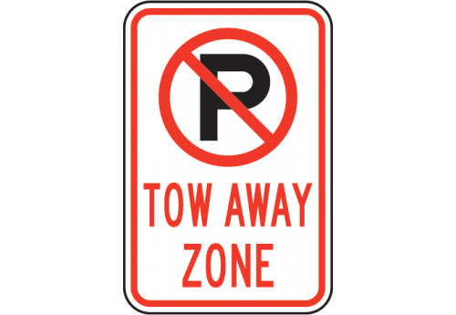 No Parking Tow Away Zone with Symbol Sign