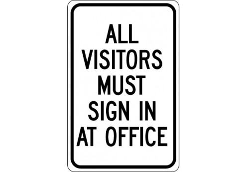 All Visitors Must Sign in at Office Sign (Black)